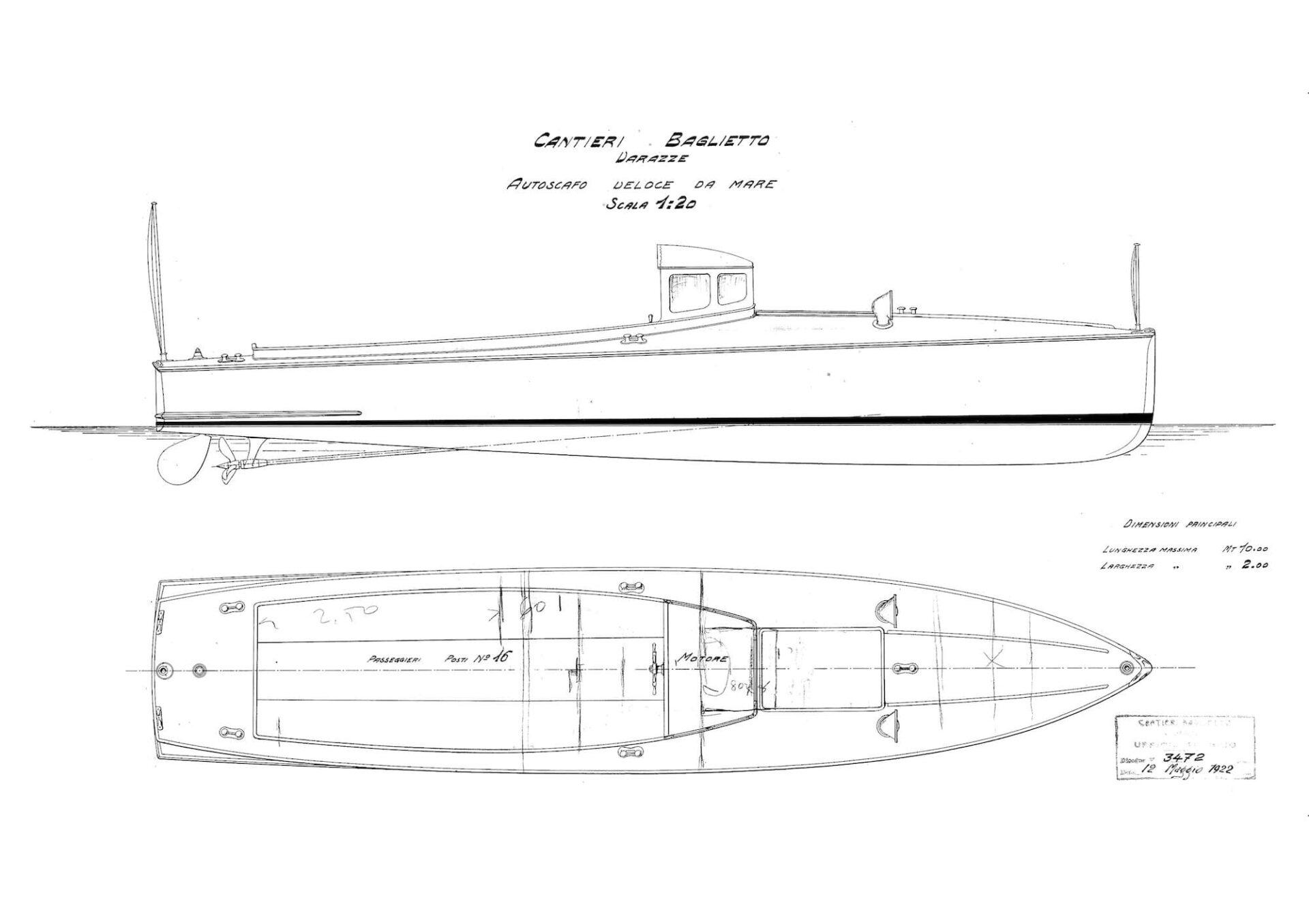1922 – Progetto per un motoscafo veloce da mare