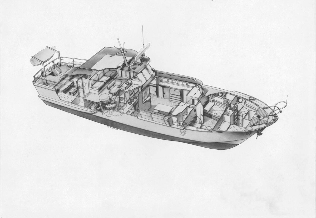 1964 - Motor Yacht serie Minorca, schizzo assonometrico