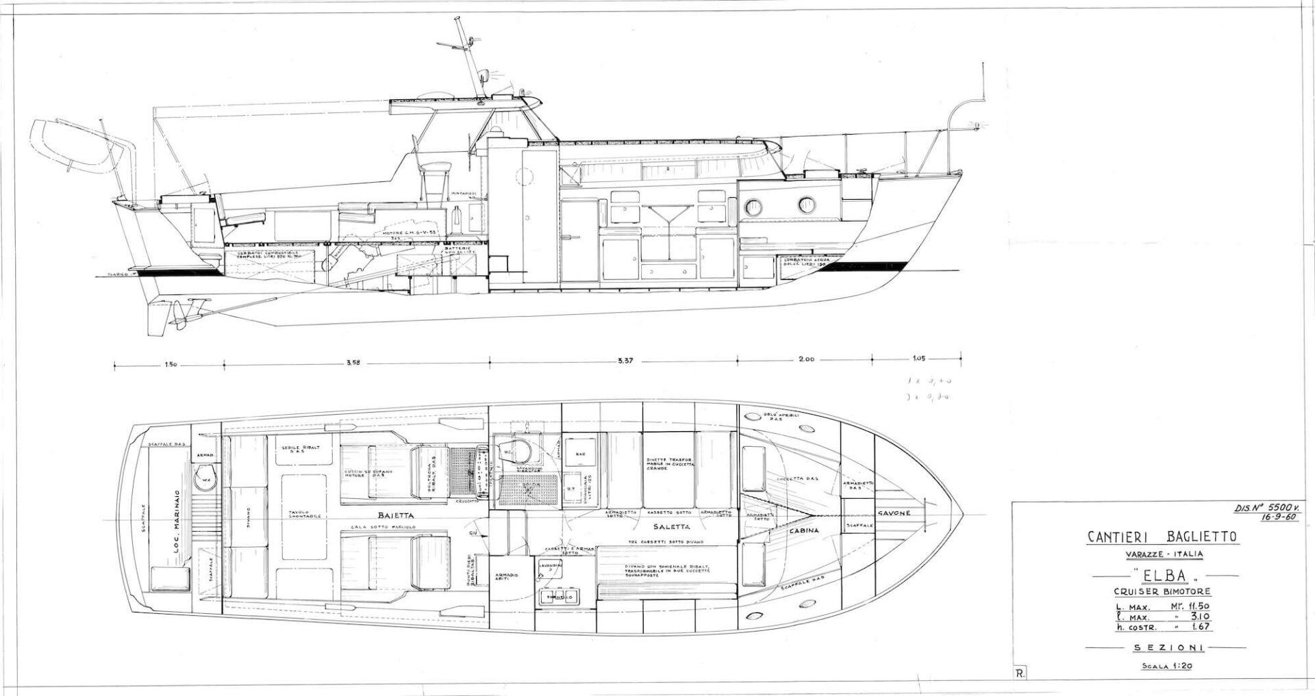 1958-1963 – Piani generali di un Motor Yacht serie Elba