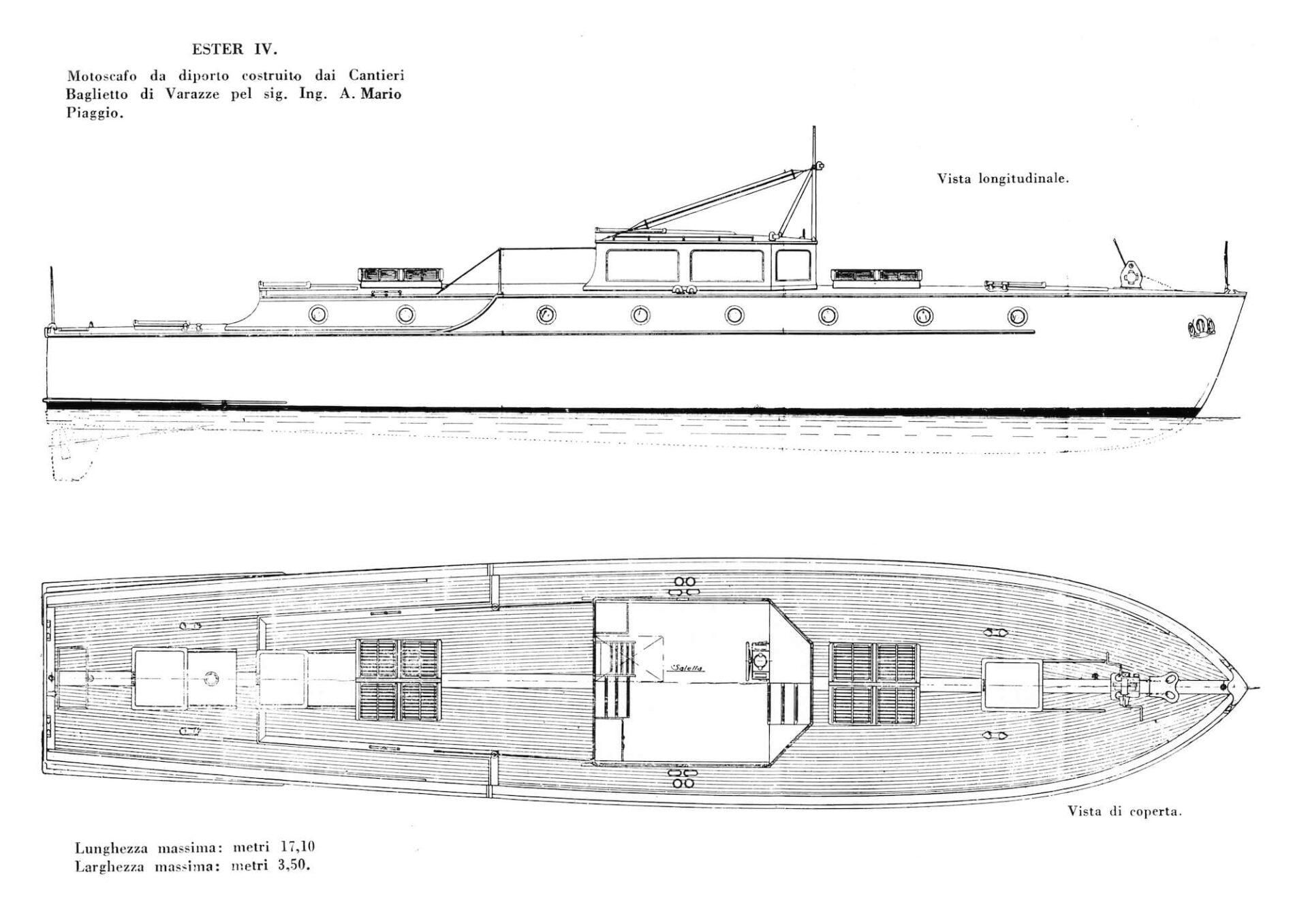 1930 – Progetto per Ester, panfilo per Mario Piaggio