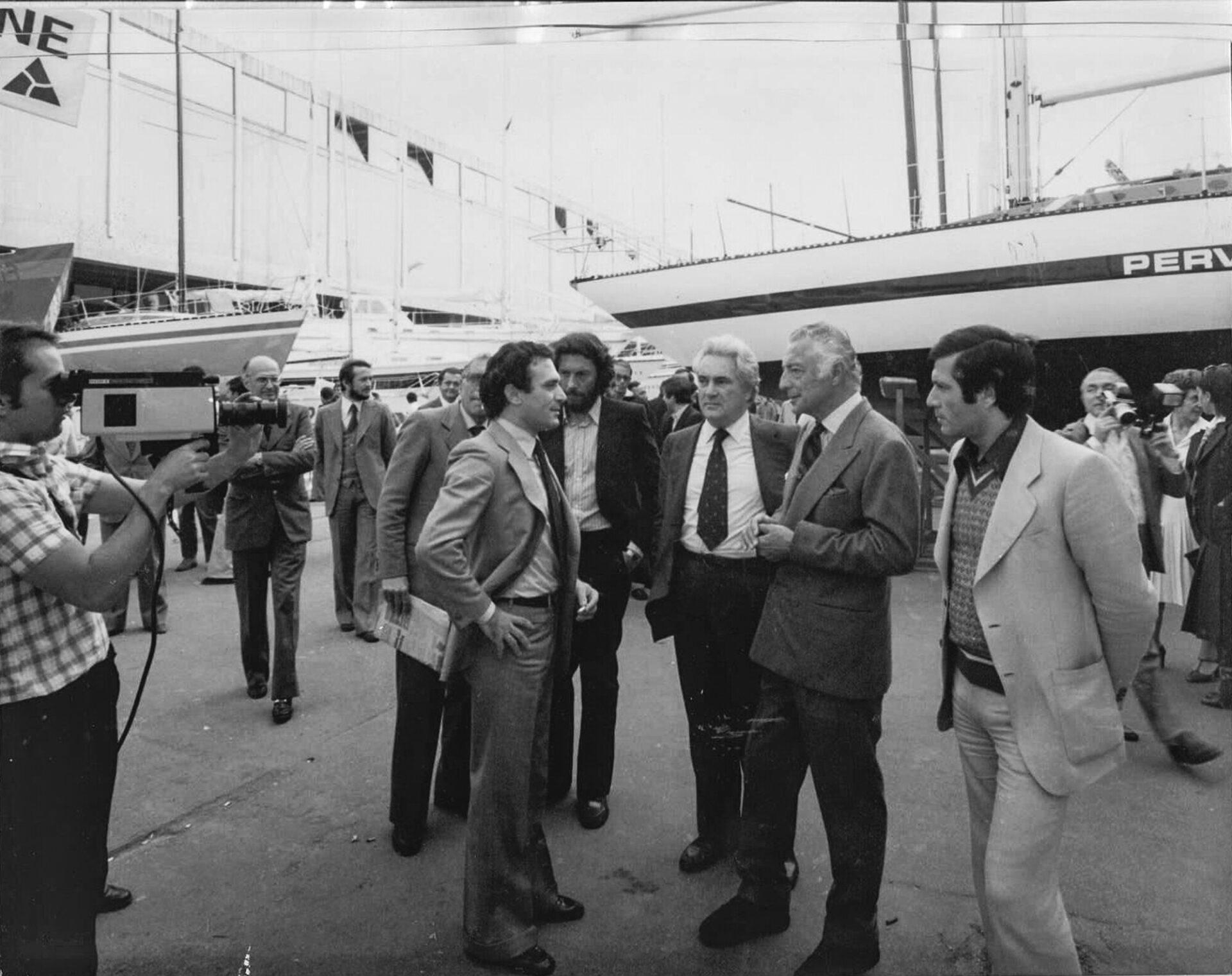 1970 – Giovanni Agnelli e Giampiero Baglietto al Salone Nautico di Genova
