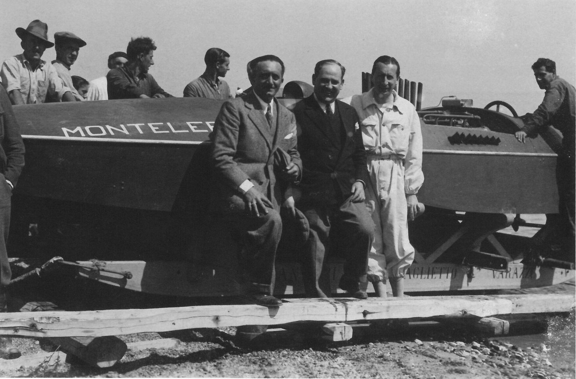 1931 – Antonio Becchi con Vincenzo Vittorio Baglietto e il conte Theo Rossi di Montelera