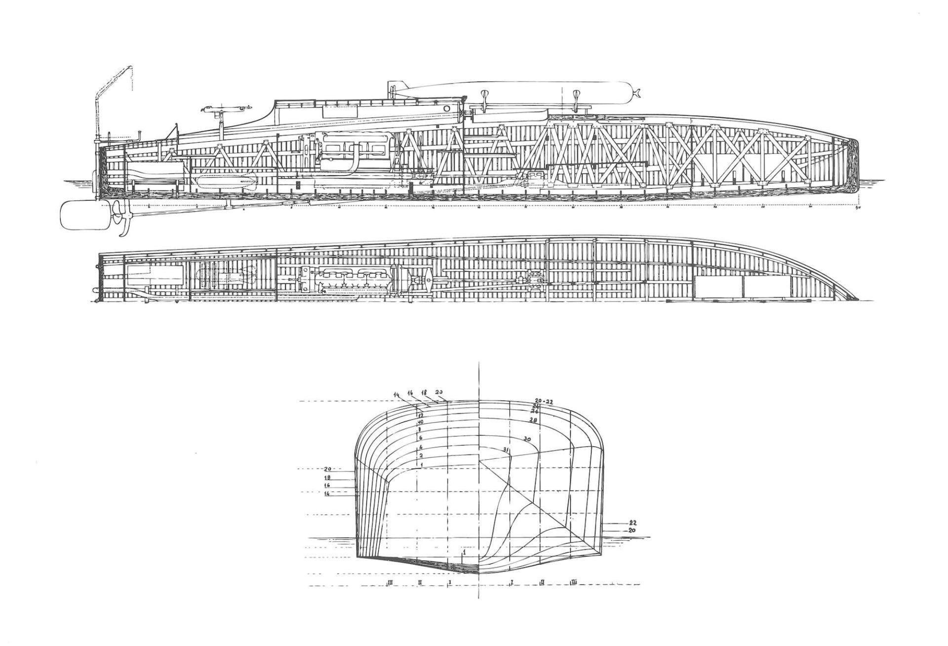 1917 – Piani di costruzione per un MAS da 12 tonn