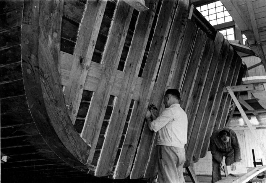 1955 – Particolare dello specchio di poppa del Dragamine Gaggia